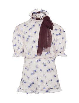tie-detailed-floral-print-georgette-top by miu-miu