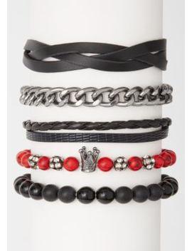 5 Pack Red Marble Crown Bracelet Set by Rue21