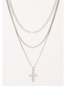 3 Pack Silver Gem Dangle Cross Chain Set by Rue21