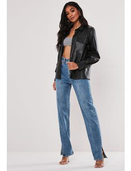 premium-black-faux-leather-slim-fit-shirt by missguided