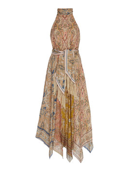 freja-belted-paisley-print-linen-halterneck-midi-dress by zimmermann