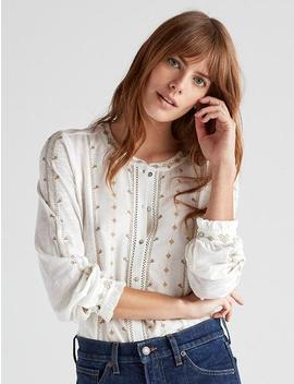 Embroidered Button Down Top by Lucky Brand