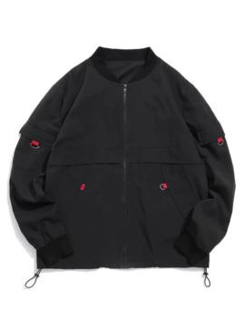 Zaful Toggle Drawstring Stand Collar Jacket   Black S by Zaful