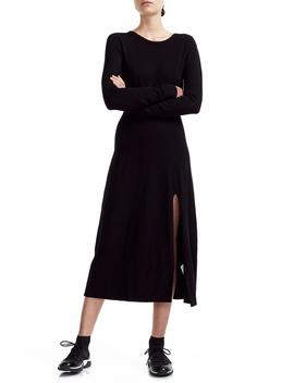 rolland-open-back-long-sleeve-midi-sweater-dress by maje