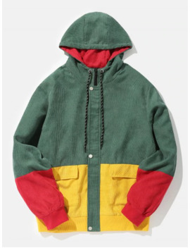 Color Block Patchwork Corduroy Hooded Jacket   Beetle Green S by Zaful