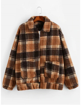 Sale Plaid Pattern Zip Up Fluffy Jacket   Coffee S by Zaful