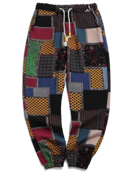 Hot Tribal Ditsy Patchwork Print Long Jogger Pants   Multi A S by Zaful