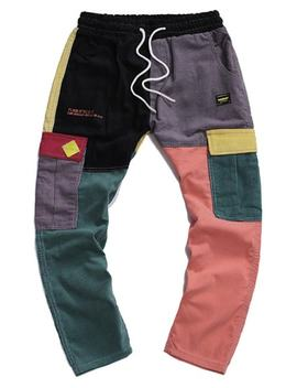 New Sale Letter Embroidered Color Spliced Casual Pants   Multi S by Zaful