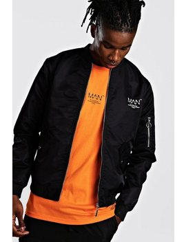 man-utility-satin-bomber-with-back-print by boohooman