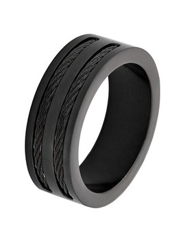mens-west-coast-jewelry-blackplated-stainless-steel-double-wire-cable-inlay-band-ring by west-coast-jewelry