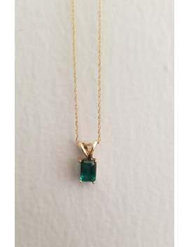 "vintage-6x4mm-05ct-emerald-10k-solid-yellow-gold-pendant-and-18""-necklace by etsy"