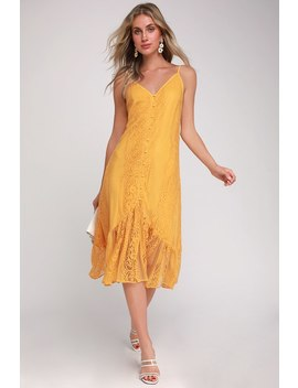 zahria-golden-yellow-lace-button-front-midi-dress by lulus