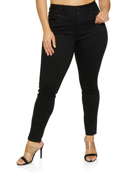 Plus Size Wax 3 Button High Waisted Jeans by Rainbow