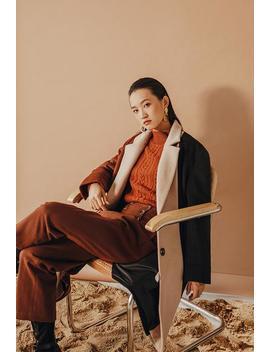 heidi-wool-coat---cinnamon-&-black by petite-studio