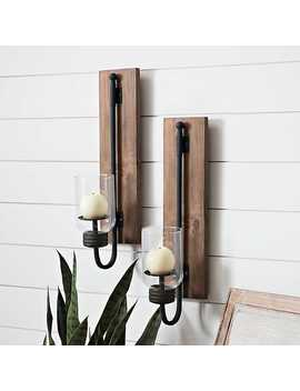 New! Lankford Wood And Metal Sconces, Set Of 2 by Kirkland's