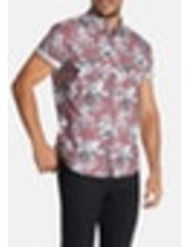Dusty Pink Hobson Floral Print Slim Shirt by Connor