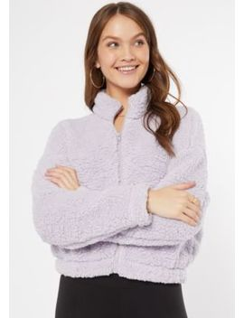 Lavender Zip Up Sherpa Teddy Coat by Rue21