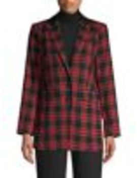 tartan-button-front-blazer by vince-camuto