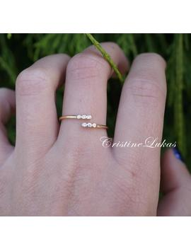10k,-14k-or-18k-gold-ring-with-cubic-zirconia-stones---double-wrap-by-pass-ring---yellow-gold by etsy