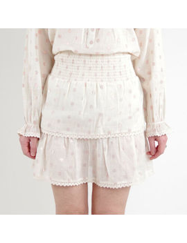 New Cream Mini Skirt With Rose Gold Spots And Lace Details By Eyes On Floyd by Eyes On Floyd