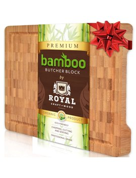 thick-end-grain-cutting-board---butcher-block-for-kitchen-with-juice-groove-and-handles-by-royal-craft-wood by royal-craft-wood