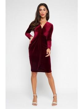 tfnc-tessa-velvet-burgundy-midi-dress by tfnc-london