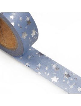 "9_16""-x-10-yards-light-blue-w_silver-star-metallic-washi-tape--by-paper-mart by paper-mart"