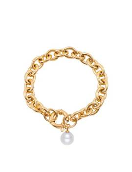 Gold Chunky Bracelet With Pearl Charm by Liv Oliver
