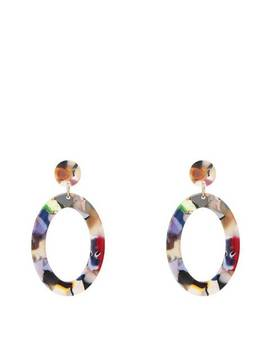 Multi Color Shell Boho Statement Oval Earrings by Liv Oliver