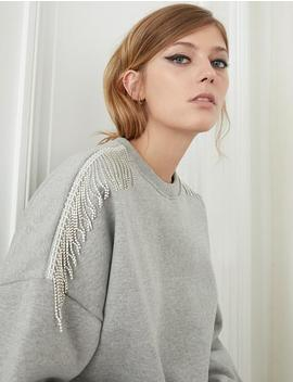Grey Diamond Fringe Sweatshirt by Pixie Market