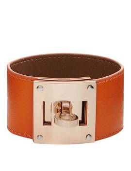 Orange/Rose Gold Leather Bracelet by Chloe Collection By Liv Oliver