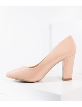 Blush Pink Patent Leatherette Block Heel Pumps by Unique Vintage