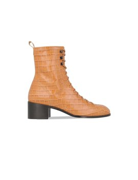 Bota Croco Beige Embossed Leather by By Far