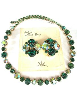 weiss-&-karu-arke-olivine-green-rhinestone-vintage-earrings-&-necklace-on-card! by ebay-seller