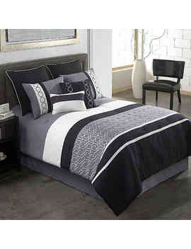 Covington 8 Piece Full Comforter Set In Grey/Black by Bed Bath And Beyond