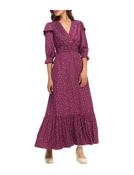 petite-size-cassandra-posey-floral-print-jacquard-ruffle-tiered-maxi-dress by gal-meets-glam-collection