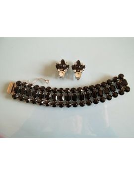 vtg-signed-weiss-black-&-clear-rhinestone-rhodium-plated-bracelet-&-clip-on-earr by weiss