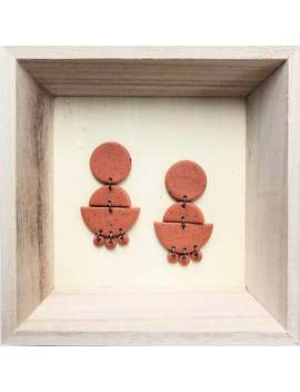 bre-|-geometric-statement-earrings---handmade-polymer-clay-jewelry---clip-on-optional---free-shipping-eligible by etsy