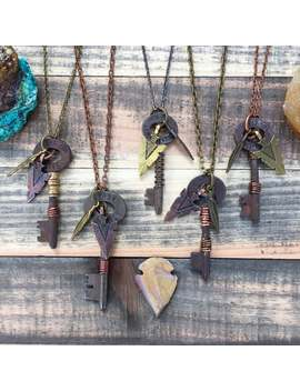 key-necklace-|-custom-hand-stamped-|-iron-skeleton-key-necklace-keepsake-|-vertical-|-plus-spearhead by etsy