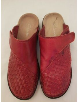 clarks-rebecca-red-leather-basket-weave-clogs-mules-womens-size-8m by clarks