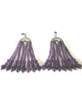 amazing-genuine-amethyst-beaded-tassel-crystal-encrusted-earrings by ebay-seller