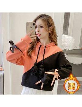 sphene---two-tone-tasseled-cropped-hoodie by sphene