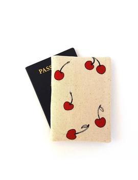 cherry-passport-cover,-women-passport-holder,-girl-passport-wallet,-cotton-fabric-passport-case,-travel-gift-with-summer-fruit by etsy