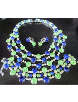 scaasi-amazing-lapis-blue-cabochon-peridot-green-rhinestone-necklace-set by ebay-seller