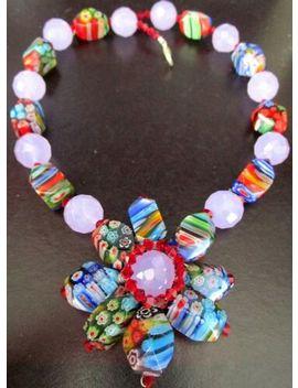butler-&-wilson-millefiori-glass-beaded-flower-necklace-in-original-box!-rare by ebay-seller