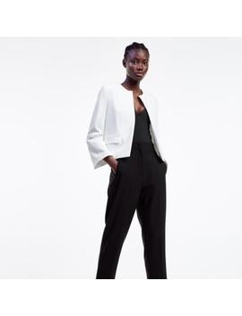 zara-white-cropped-flare-sleeves-blazer-jacket by zara