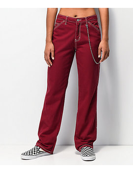 dickies-chain-burgundy-carpenter-pants by dickies