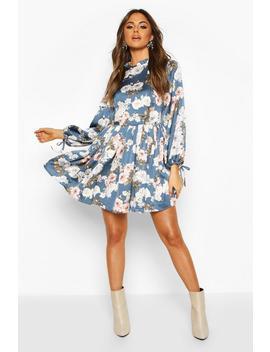 satin-floral-print-frill-hem-skater-dress by boohoo