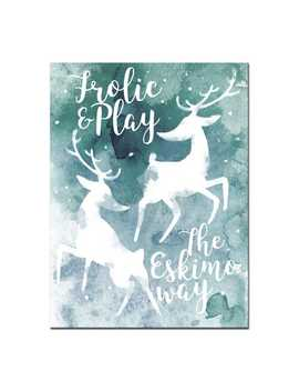 teal-frolicking-reindeer-canvas-wall-art by pier1-imports