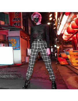 Free Shipping Plaid Jogger Pants With Belt by New Arrivalnew Arrival